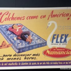 Carteles: REPRODUCCIÓN CARTEL PUBLICITARIO COLCHONES COMO EN AMÉRICA FELX ESPONJA DE ACERO COLCHÓN ELÁSTICO. Lote 270564813