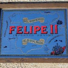 Carteles: ESPEJO CARTEL PUBLICIDAD BRANDY IMPERIO FELIPE II DE EEUU VINTAGE 65*50 CM. Lote 271625783