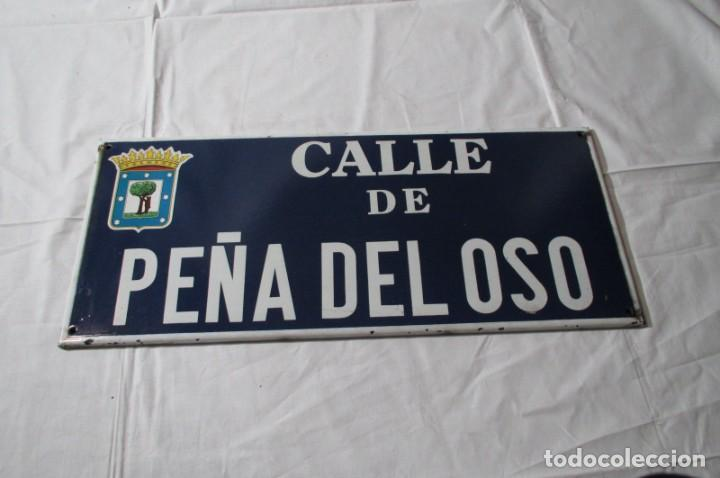 Carteles: Chapa original de la calle de Madrid Peña del Oso - Foto 2 - 276740223