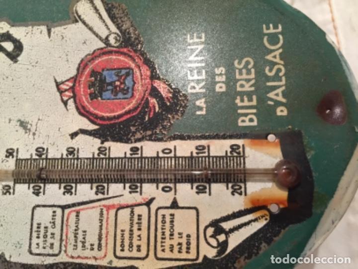 Carteles: CHAPA TERMOMETRO PUBLICIDAD CERVEZA MUTZIG , ALSACIA , FRANCIA , AÑOS 40-50 - Foto 2 - 277137738