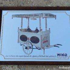Carteles: ESPEJO CARTEL PUBLICIDAD MIKO HELADOS VINTAGE FRANCIA AÑOS 50/60. Lote 277206908