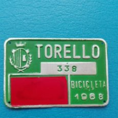 Carteles: ANTIGUA MATRICULA DE BICICLETA - TORELLO - 338 - AÑO 1968. Lote 277236228