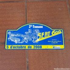 Carteles: CHAPA ESMALTADA 2° TROBADA SEAT 600. Lote 277822278