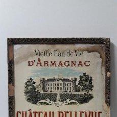 Carteles: ANTIGUO Y ORIGINAL CARTEL DE BRANDY D´ ARMAGNAC . CHATEAU BELLEUVE . WETTERWALD . BORDEAUX. Lote 282544003