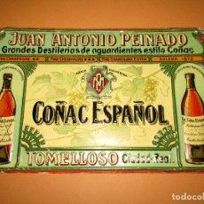Carteles: ANTIGUO CARTEL HOJALATA LITOGRAFIADA ORIGINAL COÑAC ESPAÑOL PEINADO JOSÉ ANTONIO PEINADO TOMELLOSO. Lote 283937768
