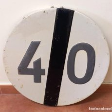 """Carteles: SEÑAL TRAFICO, CHAPA, EN RELIEVE """"FIN VELOCIDAD 40"""" DIAMETRO 60 CMT, DE 1983. Lote 284233748"""