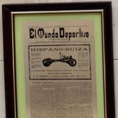 Carteles: ANTIGUO ESPEJO PUBLICITARIO HISPANO SUIZA Y EL MUNDO DEPORTIVO ENMARCADO MADERA 34,5 X 26,5. Lote 293673348