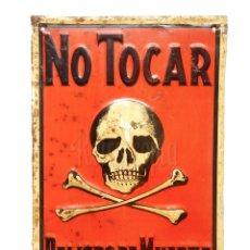 Carteles: CHAPA PLACA EN RELIEVE SEÑAL NO TOCAR PELIGRO DE MUERTE 24,5 X 35 CM. Lote 285673558