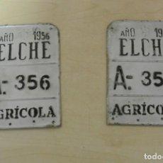 Carteles: DOS MATRICULAS DE CARRO A,356-357 AÑO 1956 , ELCHE. Lote 289736278