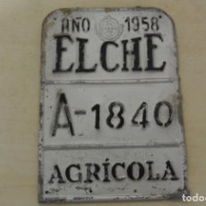 Carteles: MATRICULA DE CARRO A, 1840 AÑO 1958, ELCHE. Lote 289736678