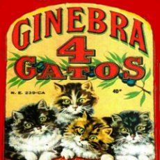"Carteles: CHAPA PUBLICITARIA""GINEBRA LOS 4 GATOS"". Lote 294505773"