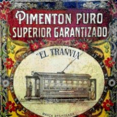 """Carteles: CHAPA PUBLICITARIA """"PIMENTÓN """"EL TRANVÍA"""". Lote 294506338"""