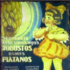 "Carteles: CHAPA PUBLICITARIA ""PLATANOS"". Lote 294506368"