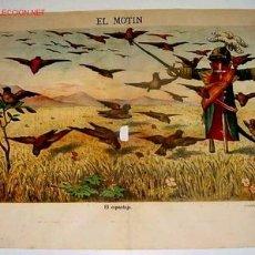 Carteles Políticos: CARTEL ORIGINAL CON CARICATURA HISTORIA POLITICA ESPAÑOLA DE 1887 PERIODICO EL MOTIN LIBERTARIO DE D. Lote 25013417