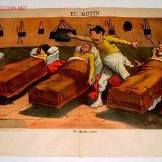 Carteles Políticos: CARTEL ORIGINAL CON CARICATURA HISTORIA POLITICA ESPAÑOLA DE 1887 PERIODICO EL MOTIN LIBERTARIO DE D. Lote 25079374