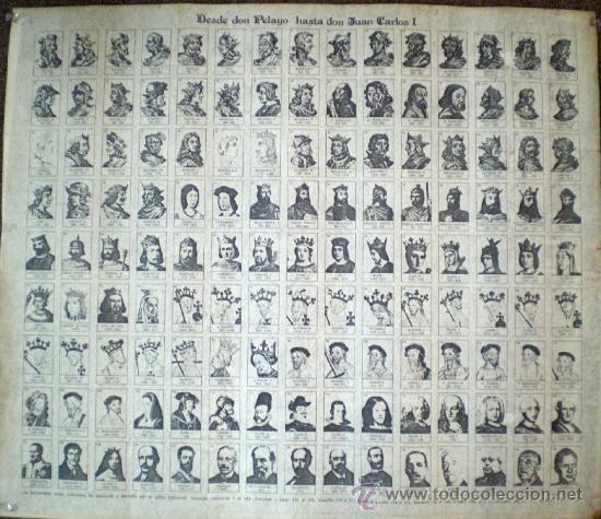 Carteles Políticos: DESDE PELAYO A DON JUAN CARLOS I: Poster con los bustos de todos los reyes españoles. En hule. - Foto 1 - 28921429