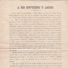 Affissi Politici: PASQUÍN POLÍTICO. A MIS CONVECINOS Y AMIGOS... TORQUEMADA (PALENCIA) 16 DE NOVIEMBRE DE 1893. Lote 19690372