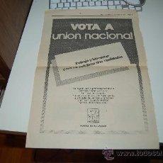 Carteles Políticos: HOJA PUBLICITARIA DEL PARTIDO UNIÓN NACIONAL. 1979. Lote 26234367