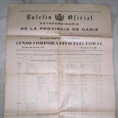 Carteles Políticos: BOLETIN OFICIAL EXTRAORDINARIO CADIZ - CENSO CORPORATIVO ELECTORAL - 1929. Lote 26590064