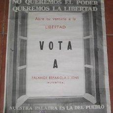 Carteles Políticos: CARTEL DE FALANGE ESPAÑOLA DE LAS JONS AUTÉNTICA. Lote 28067406