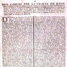 Carteles Políticos: 1801.CARTEL ANUNCIADOR DEL PRINCIPADO DE CATALUÑA EN NOMBRE DEL REY CARLOS IV DE BORBON. Lote 30247301