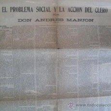Carteles Políticos: EL PROBLEMA SOCIAL Y LA ACCIÓN DEL CLERO. ANDRES MANJON. 1905. ENVIO CERTIFICADO GRATIS¡¡¡. Lote 30344754