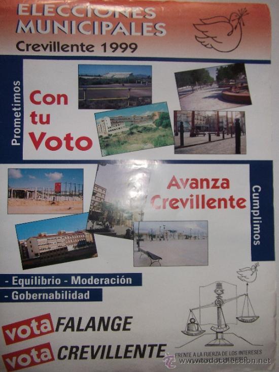 CARTEL FALANGE-CREVILLENTE-1999-ORIGINAL (Coleccionismo - Carteles gran Formato - Carteles Políticos)