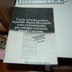 Carteles Políticos: PROPAGANDA ELECTORAL DEL REFERENDUM NACIONAL PARA LA REFORMA POLÍTICA ( 15-12-1976 ). Lote 32190518