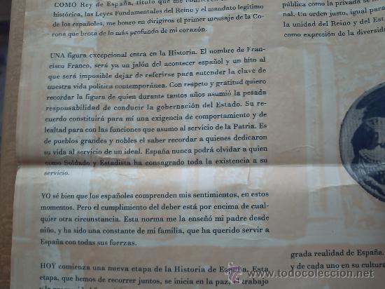 Carteles Políticos: PRIMER DISCURSO DEL REY JUAN CARLOS I 22 DE NOVIEMBRE 1975 - Foto 7 - 32515991