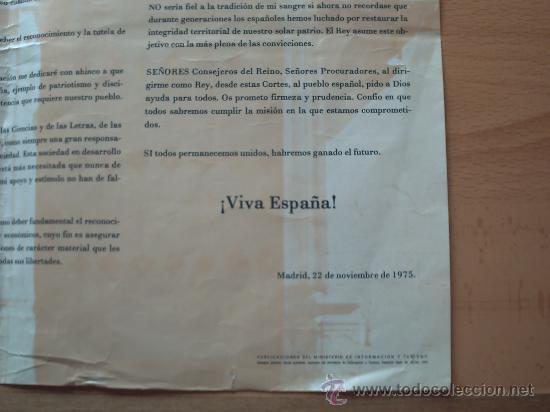 Carteles Políticos: PRIMER DISCURSO DEL REY JUAN CARLOS I 22 DE NOVIEMBRE 1975 - Foto 9 - 32515991