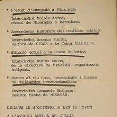 Carteles Políticos: L'ESTAT D'EXCEPCIO A NICARAGUA. CA. 1980. 33 X 46 CM. BARCELONA. Lote 33621198