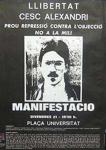 LLIBERTAT CESC ALEXANDRI. 1986. CAHNER / FORNAS. 62 X 87 CM. BARCELONA (Coleccionismo - Carteles gran Formato - Carteles Políticos)