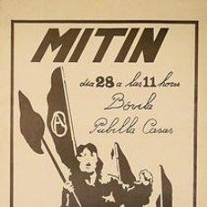 Carteles Políticos: CNT-AIT MITIN PUBILLA CASAS. CA. 1980. 35 X 50 CM. L'HOSPITALET DEL LLOBREGAT. Lote 34028303