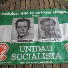 Carteles Políticos: CARTEL POLITICO DE UNIDAD SOCIALISTA PSA PSP ELECCIONES DEL 1977. Lote 34035312