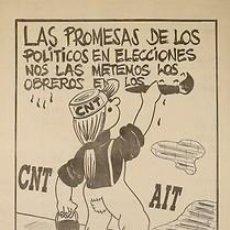 Carteles Políticos: CNT-AIT ABSTENCION. CA. 1980. 36 X 51 CM. ESPAÑA. Lote 34040347