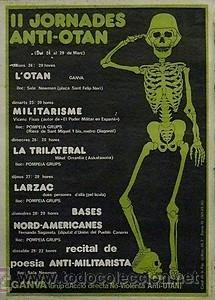 CARTEL II JORNADES ANTI-OTAN.BARCELONA.1980.40X50. (Coleccionismo - Carteles gran Formato - Carteles Políticos)