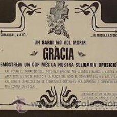 Carteles Políticos: CARTEL GRACIA. UN BARRI NO VOL MORIR.BARCELONA.1976. Lote 34082806
