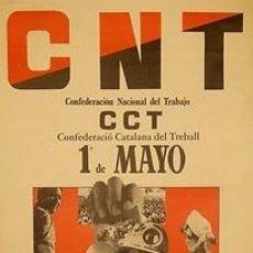 Carteles Políticos: CARTEL CNT 1º DE MAYO. 1982. 43 X 62 CM. ESPAÑA. Lote 34097750