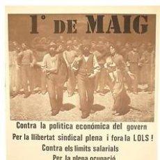 Carteles Políticos: CARTEL CNT. 1º DE MAIG. CA. 1985. 65 X 91 CM. BARCELONA. Lote 34110683