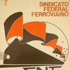 Carteles Políticos: CNT SINDICATO FEDERAL FERROVIARIO. CA.1982. MANO NEGRA. 49 X 70 CM. ESPAÑA. Lote 34143332
