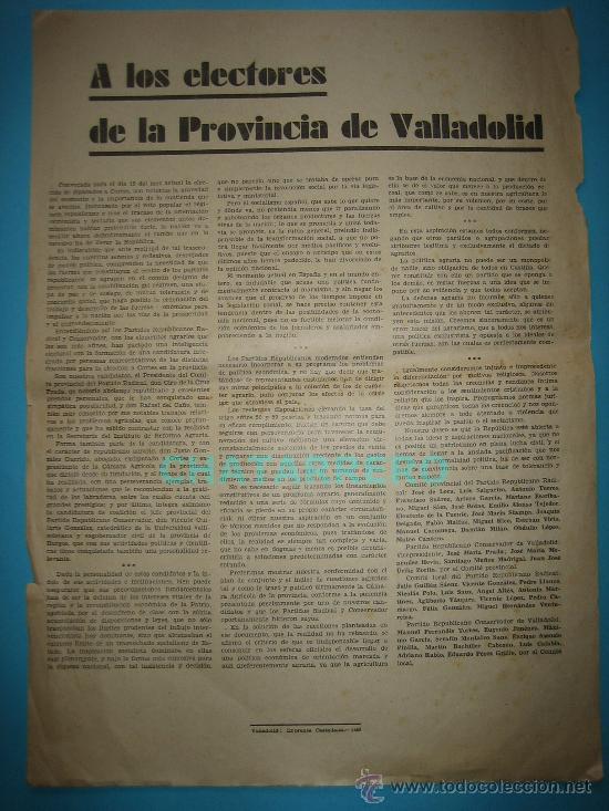 MANIFIESTO REPUBLICANO A LOS ELECTORES DE LA PROVINCIA DE VALLADOLID AÑO 1933 (Coleccionismo - Carteles gran Formato - Carteles Políticos)