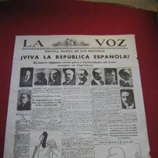 Affissi Politici: CARTEL POLITICO - LA VOZ - VIVA LA REPUBLICA MIDE 56X44. Lote 35750523