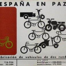 Carteles Políticos: CARTEL ESPAÑA EN PAZ VEHÍCULOS 2 RUEDAS.1964.CRUZ.98X69 CM. - AUTOR: CRUZ NOVILLO. LITOGRAFIA.. Lote 36515964
