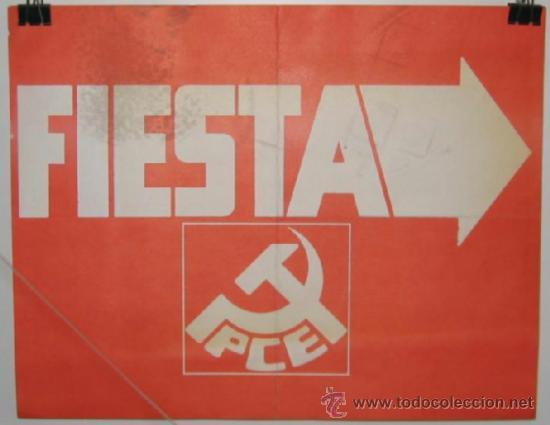 Carteles Políticos: Fiesta Partido Comunista de España. PCE. Elecciones 1977.Cartel Indicador.31 x 245 cmtrs. - Foto 2 - 37804312