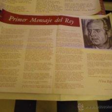 Carteles Políticos: GRAN CARTEL PRIMER MENSAJE DEL REY , 1 METRO X 68 CM APROXIMADO - NOVIEMBRE 1975. Lote 39955739
