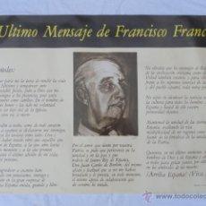 Carteles Políticos: CARTEL ÚLTIMO DISCURSO DE FRANCO. AÑO 1975.. Lote 42642200