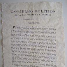 Carteles Políticos: BARCELONA 1822 CARTEL DESPEDIDA DEL GOBERNADOR POLITICO DE CATALUNYA Y DIVISION EN 4 PROVINCIAS. Lote 42881377