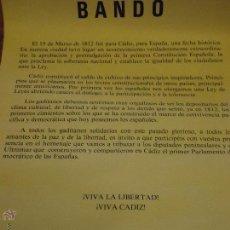 Carteles Políticos: CARTEL - BANDO CADIZ AYUNTAMIENTO 1987 ALCALDE CARLOS DIAZ - ANIVERSARIO CONSTITUCION 1812. Lote 46149775