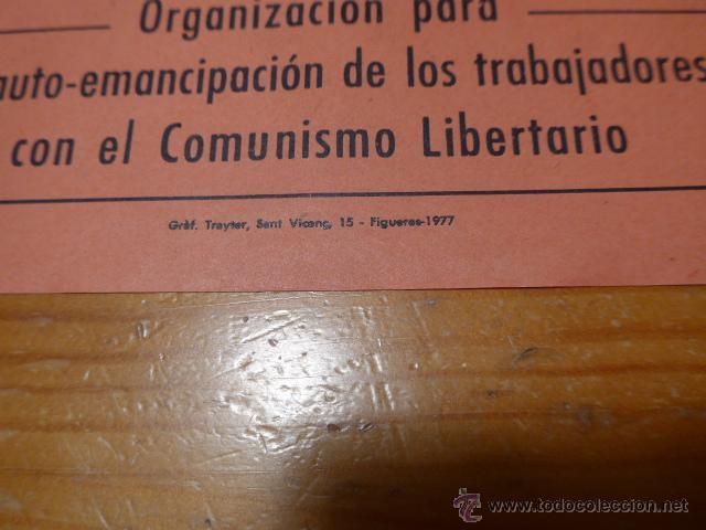Carteles Políticos: Antiguo cartel politico catalan de transicion, CNT anarquista, lEscala, figueres, original - Foto 2 - 48726754