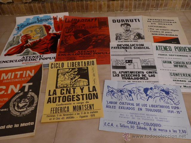 LOTE 9 CARTEL POLITICO TRANSICION DE LA CNT ANARQUISTA, ORIGINALES. (Coleccionismo - Carteles gran Formato - Carteles Políticos)